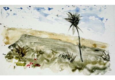 Liza's Landscape 2 Watercolor monotype