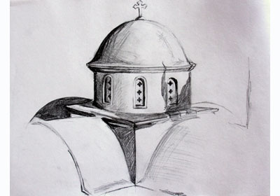 Pencil sketch of a Greek church