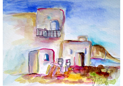 Naoussa landscape watercolor