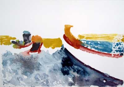 Watercolor monotype of boats in the harbor