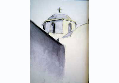 Watercolor of a Cycladic-style church