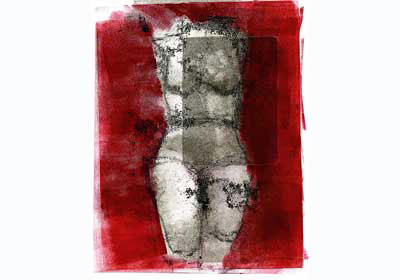 Red Lady Color Monotype Print