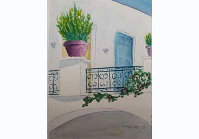 House in Paroikia Watercolor Painting