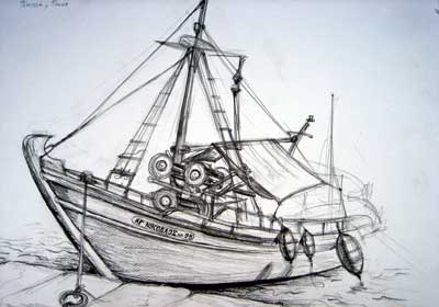 Sketch of a Greek fishing boat